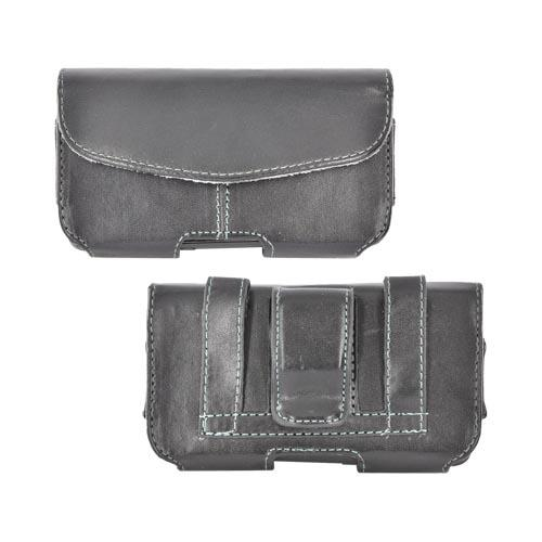 Leather Horizontal Holster Pouch w/ Velcro Closure, Inner Pocket, & Belt Clip - Black (PUT)