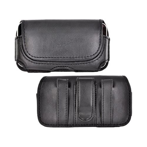 Horizontal Oil Leather Holster Pouch W/ Magnetic Closure - Black (BL)