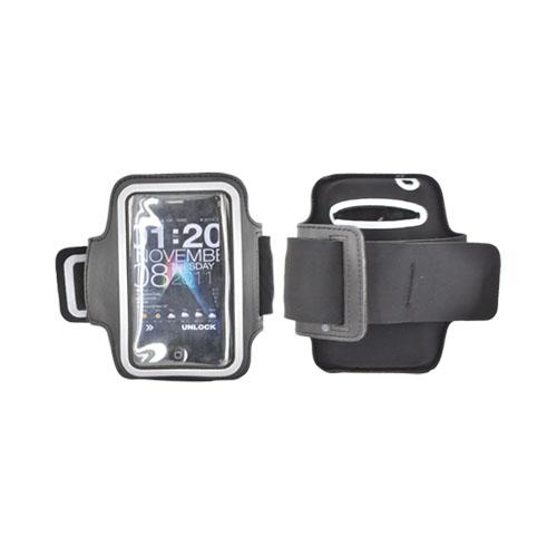 Original Naztech Apple iPhone 3G, 3Gs, 4, 4S Nylon Spots Armband w/ Velcro Closure, Adjustable Strap, and Reflective Accents - Black/ Gray (PUTS)