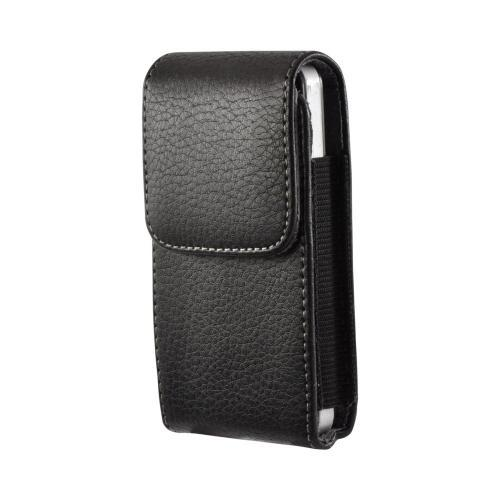 Black Vertical Leather Pouch w/ Magnetic Closure & Belt Clip for iPhone 3G/3GS Sized Phones (PUT)