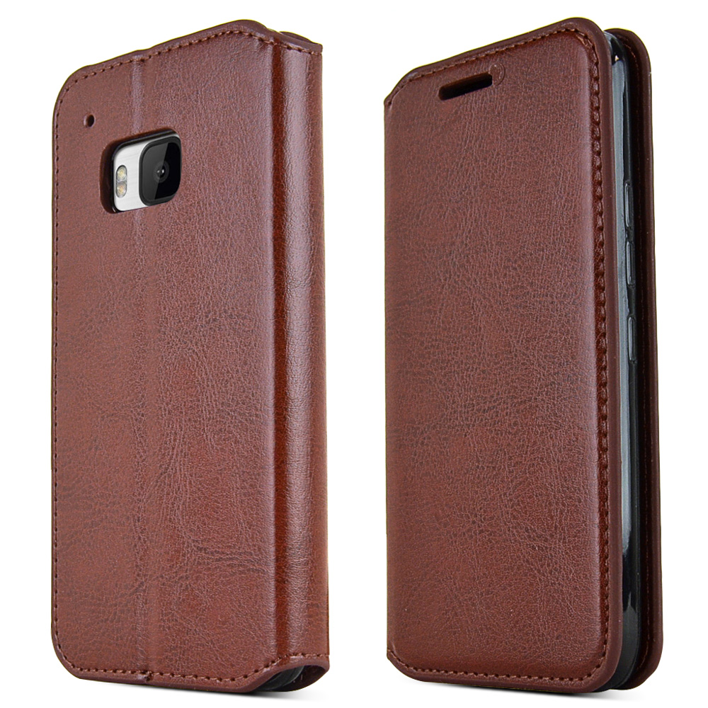 HTC One M9 Case,  [Brown]  Kickstand Feature Luxury Faux Saffiano Leather Front Flip Cover with Built-in Card Slots, Magnetic Flap