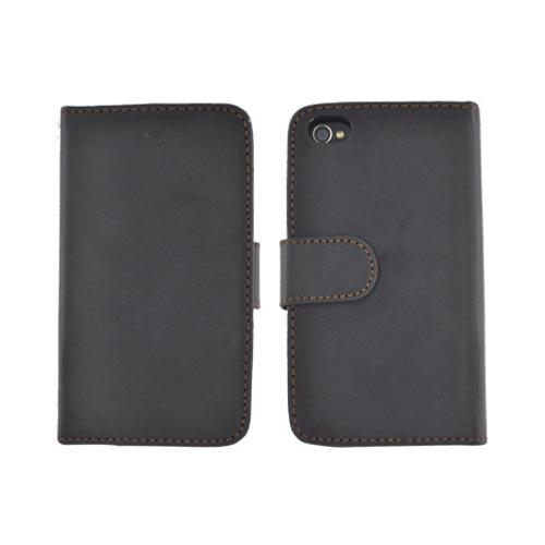 Premium AT&T/ Verizon Apple iPhone 4/ iPhone 4S Leather Wallet Case Pouch w/ ID Slots - Black