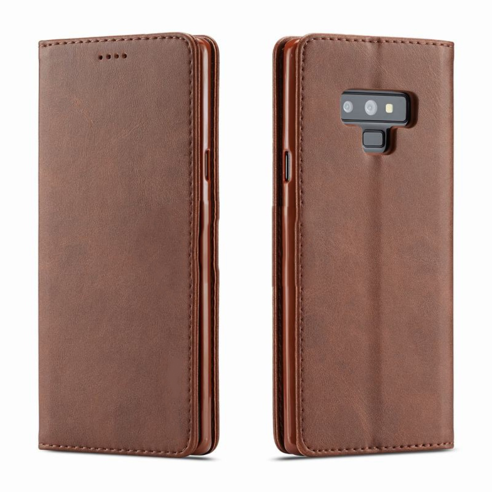 Samsung Galaxy Note 9 Wallet Case  REDshield [Brown] Faux Leather Front Flip Cover Diary Wallet Case w/ ID Slots & Bill Fold