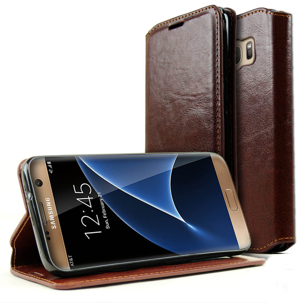 Samsung Galaxy S7 Wallet Case, REDshield [Brown] Faux Leather Front Flip Cover Diary Wallet Case w/ ID Slots & Bill Fold with Travel Wallet Phone Stand