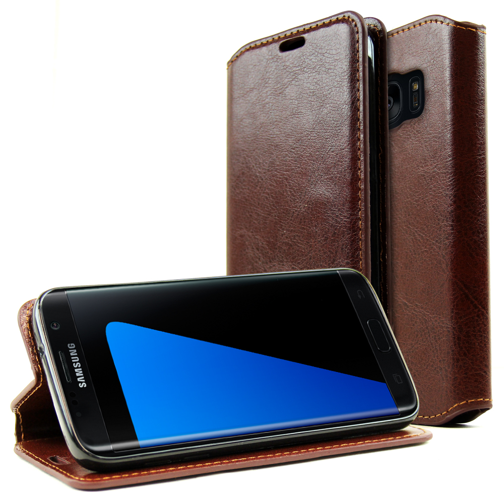Samsung Galaxy S7 Edge Wallet Case, REDshield [Brown] Faux Leather Front Flip Cover Diary Wallet Case w/ ID Slots & Bill Fold with Travel Wallet Phone Stand