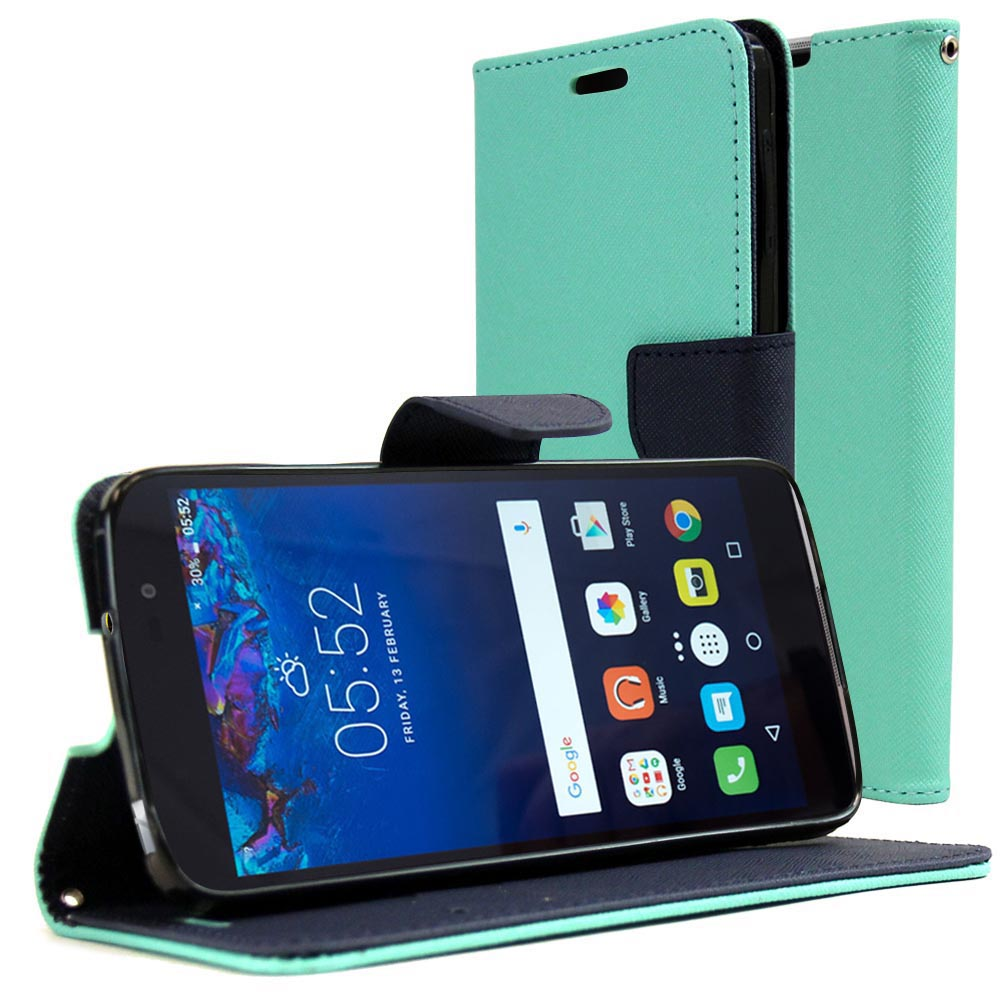 Alcatel Idol 4 Diary Case, REDshield [Mint] Kickstand Feature Luxury Faux Saffiano Leather Front Flip Cover with Built-in Card Slots, Magnetic Flap with Travel Wallet Phone Stand