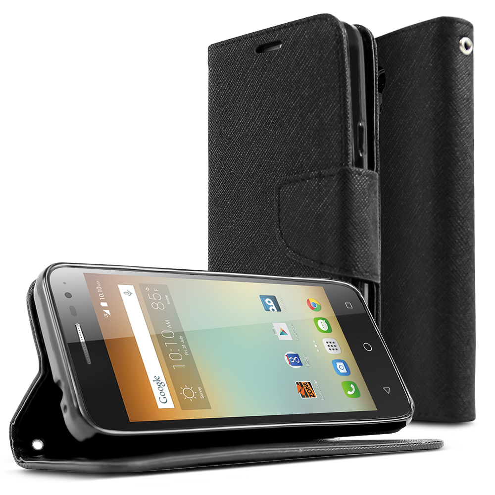 Alcatel OneTouch Elevate Case, [Black] Faux Leather Front Flip Cover Diary Wallet Case w/ Magnetic Flap