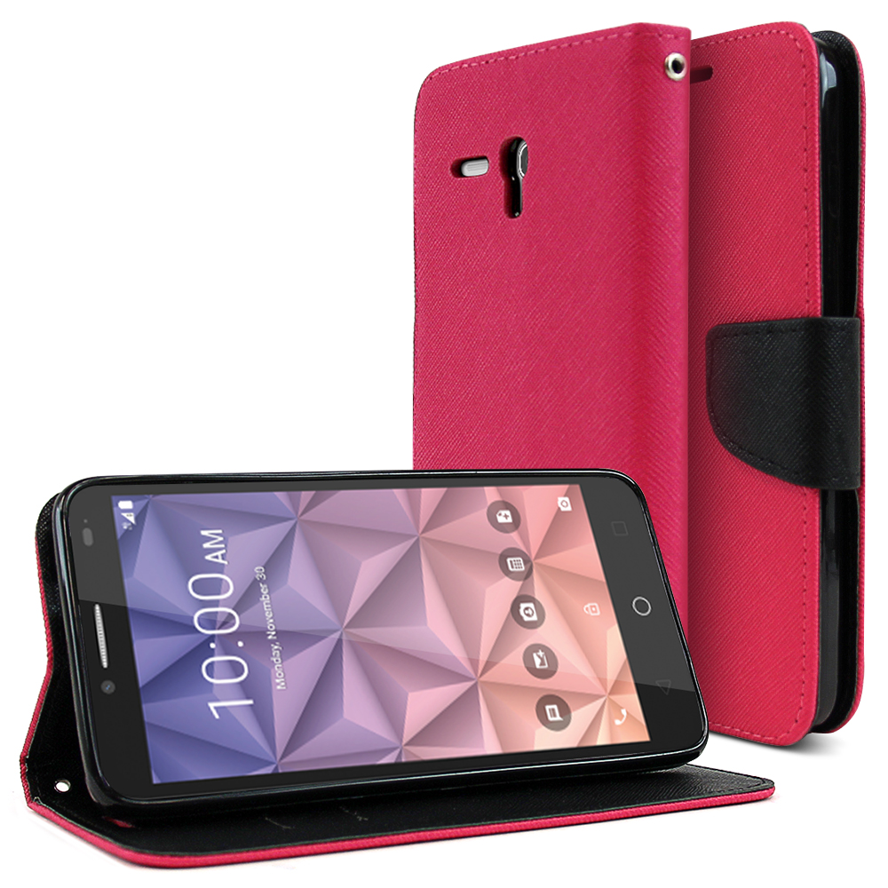 Alcatel OneTouch Fierce XL Case, [Hot Pink] Faux Leather Front Flip Cover Diary Wallet Case w/ Magnetic Flap