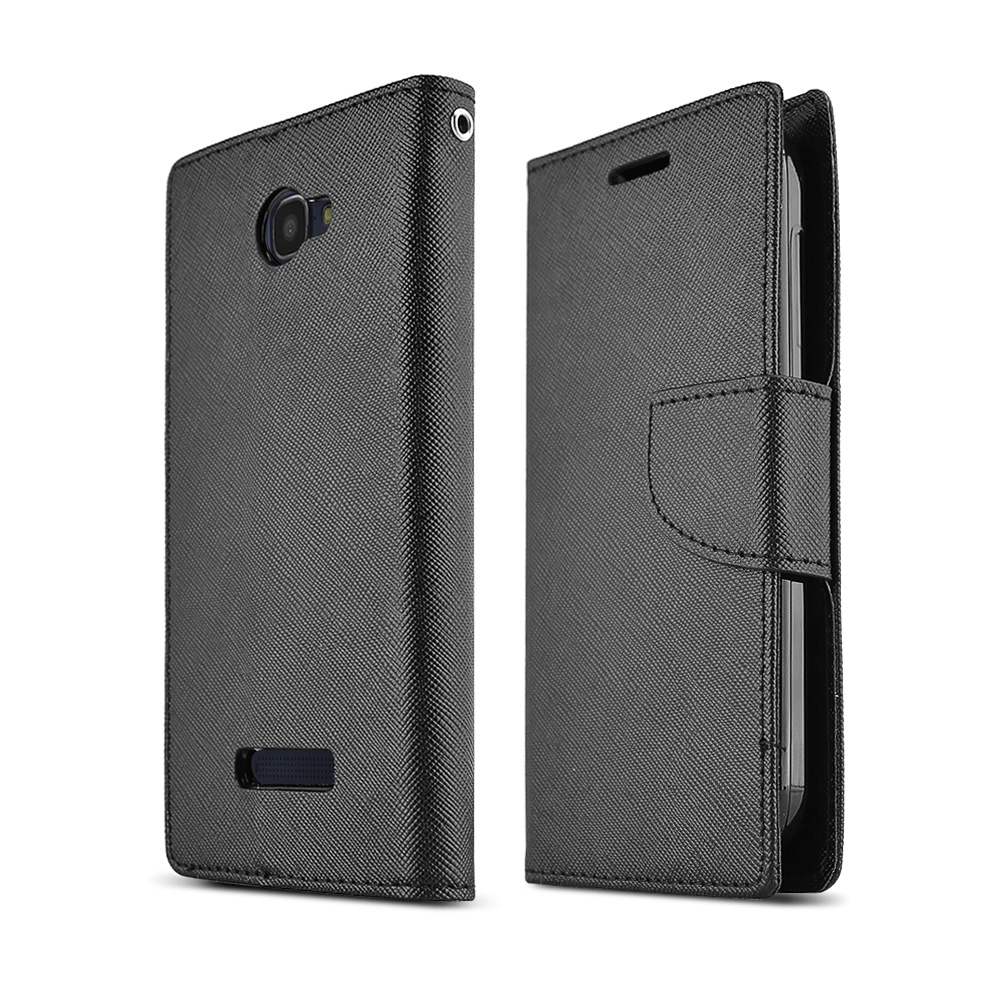 Black Alcatel One Touch Fierce 2 Faux Leather Diary Flip Case w/ ID Slots, Bill Fold, & Magnetic Closure - Keep Everything You Need in 1 Place!