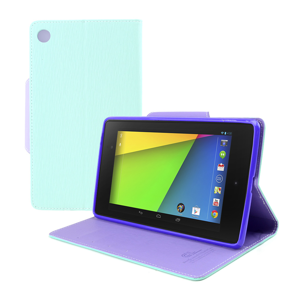 Mint/ Lavender Faux Leather Diary Flip Case w/ ID Slots, Bill Fold, Magnetic Closure & Free Screen Protector for Google Nexus 7 2