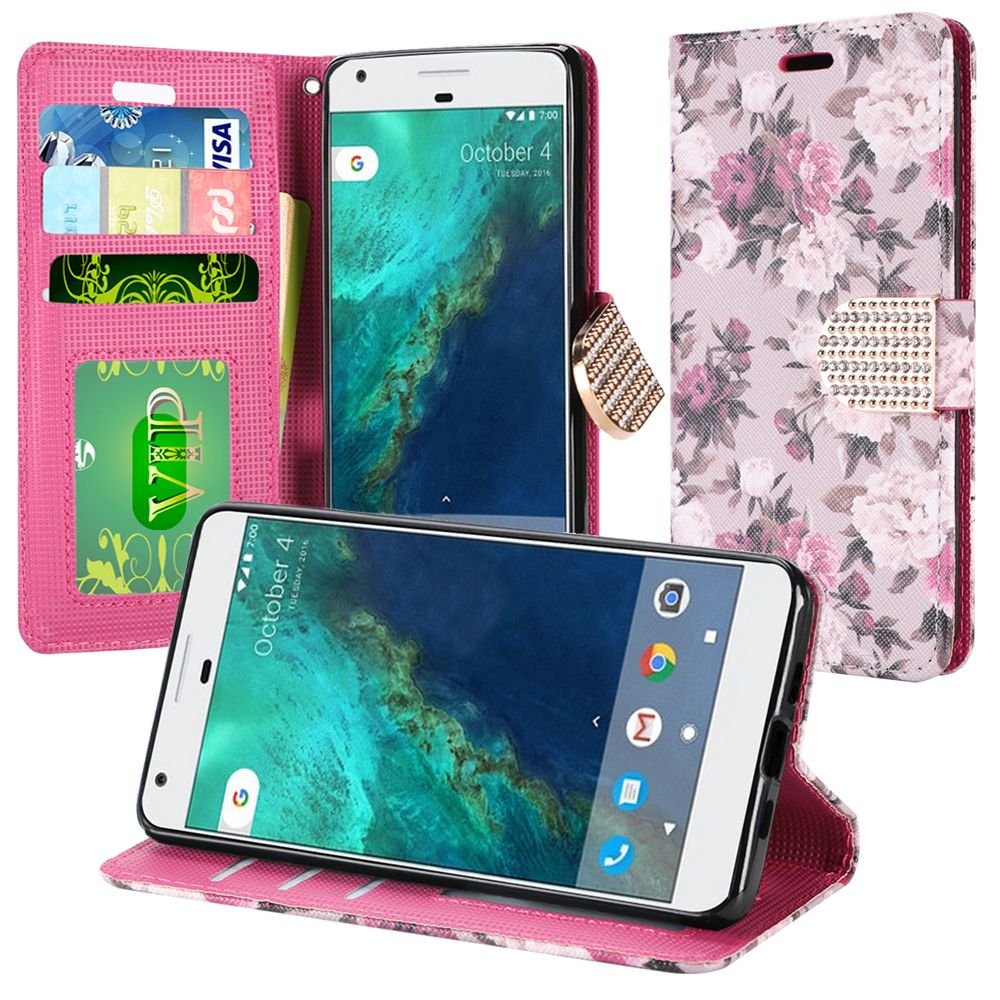 Google Pixel Case, Luxury Faux Leather Saffiano Texture Front Flip Cover Diary Wallet Case w/ Magnetic Flap [Pink & White Roses]