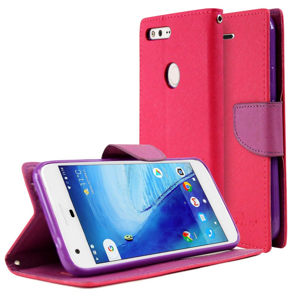 [Google Pixel XL] Diary Case, REDshield [Hot Pink/ Purple] Kickstand Feature Luxury Faux Saffiano Leather Front Flip Cover with Built-in Card Slots, Magnetic Flap with Travel Wallet Phone Stand