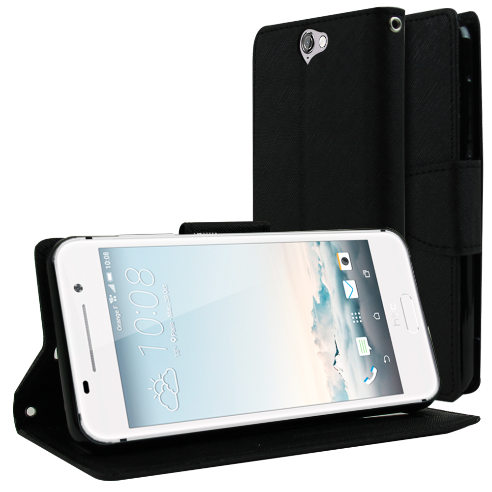 HTC One A9 Wallet Case, [Black] Faux Leather Front Flip Cover Diary Wallet Case w/ Magnetic Flap