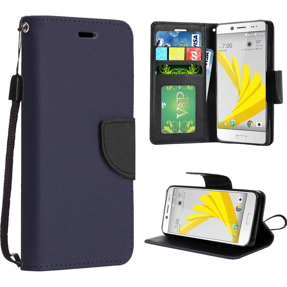 HTC Bolt Case, Luxury Faux Leather Saffiano Texture Front Flip Cover Diary Wallet Case w/ Magnetic Flap [Navy/ Black]