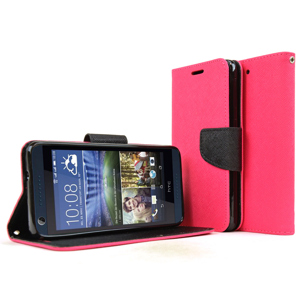 HTC Desire 626 Case, [Hot Pink] Faux Leather Front Flip Cover Diary Wallet Case w/ Magnetic Flap