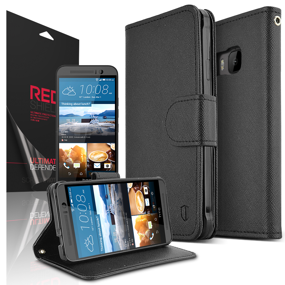 HTC One M9 Case, REDshield [Black]  Kickstand Feature Luxury Faux Saffiano Leather Front Flip Cover with Built-in Card Slots, Magnetic Flap