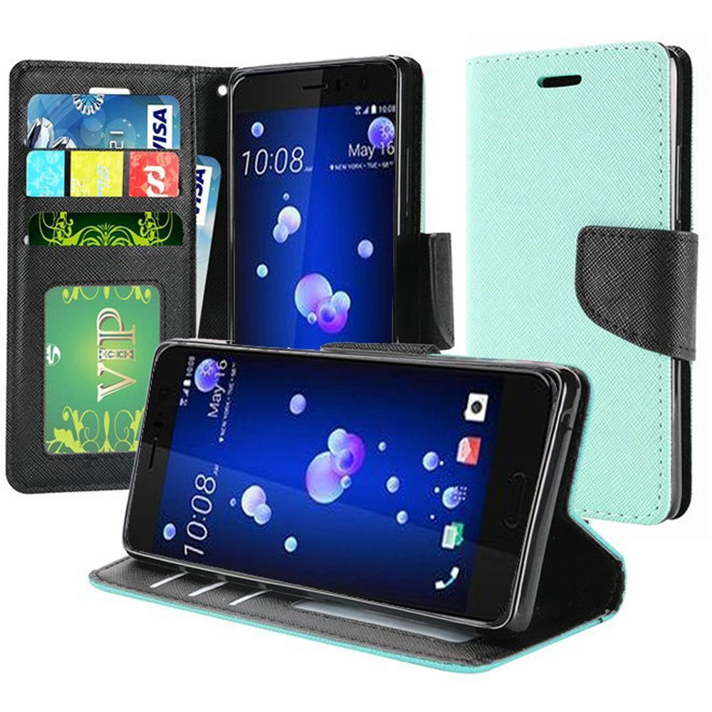 HTC U11 Wallet Case, [Mint] Kickstand Feature Luxury Faux Saffiano Leather Front Flip Cover with Built-in Card Slots, Magnetic Flap