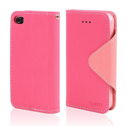 Hot Pink/ Baby Pink Faux Leather Diary Flip Case w/ ID Slots & Bill Fold, & Magnetic Closure for Apple iPhone 4/4S