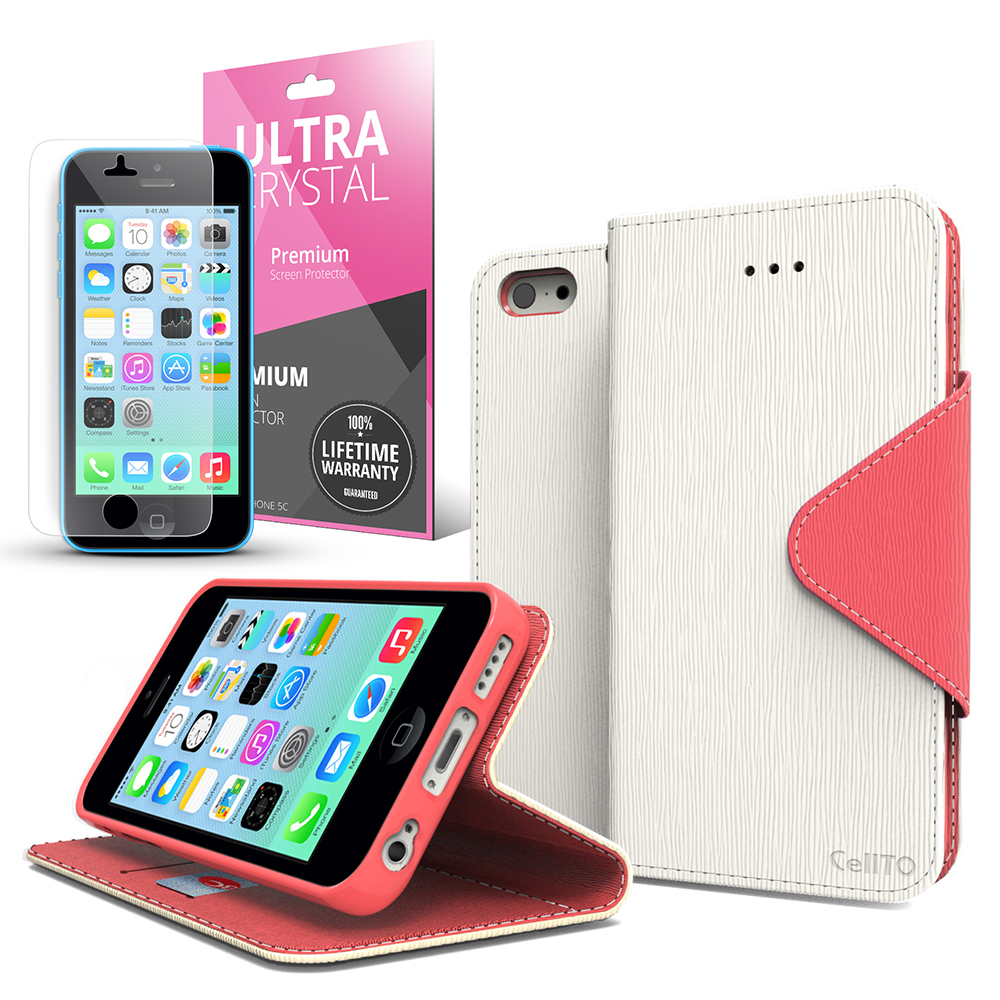 White/ Hot Pink Faux Leather Diary Flip Case w/ ID Slots, Bill Fold, Magnetic Closure & Free Screen Protector for Apple iPhone 5C