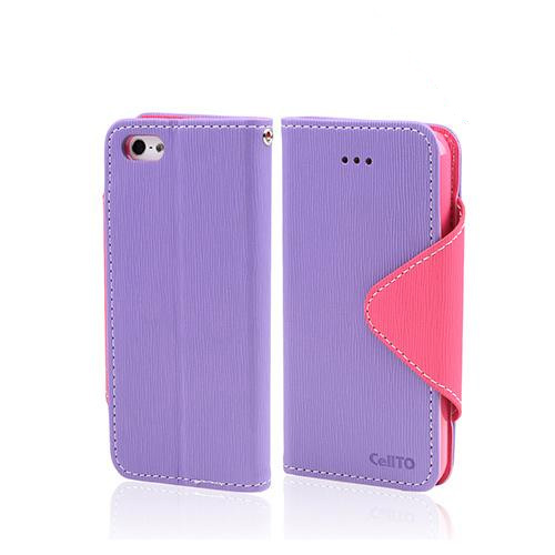 Apple iPhone SE / 5 / 5S Wallet Case,  [Lavender/ Baby Pink]  Kickstand Feature Luxury Faux Saffiano Leather Front Flip Cover with Built-in Card Slots, Magnetic Flap