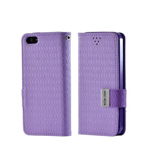 Made for Apple iPhone SE / 5 / 5S Wallet Case,  [Purple] Milky Series Kickstand Feature Luxury Faux Saffiano Leather Front Flip Cover with Built-in Card Slots, Magnetic Flap by Redshield