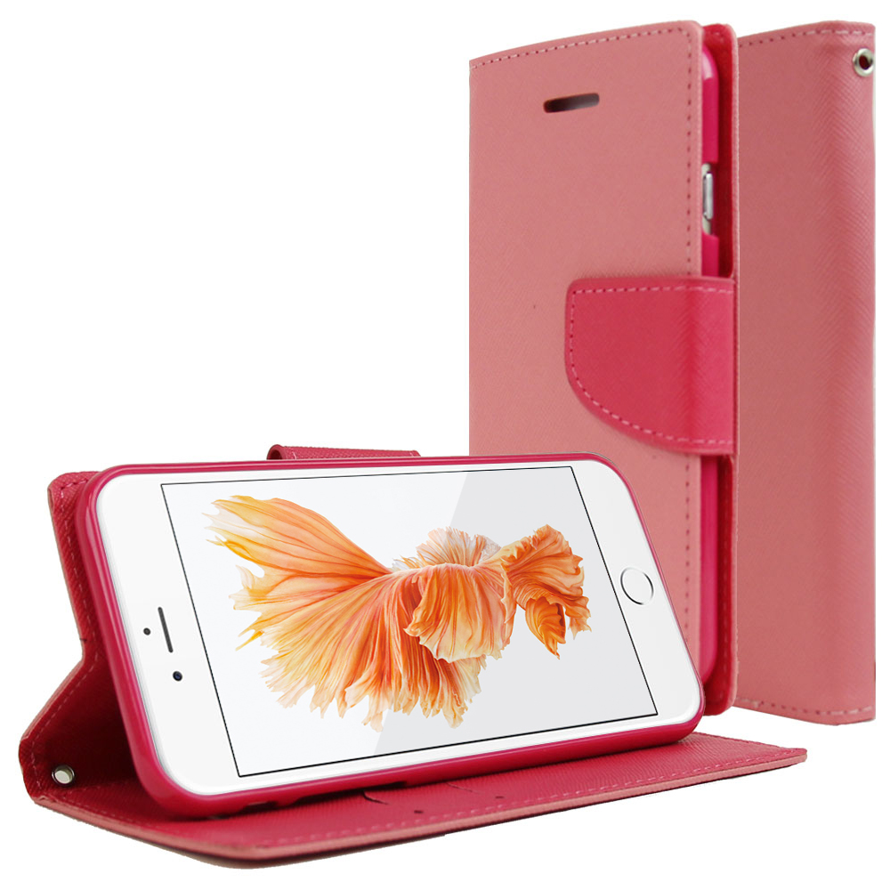 Apple iPhone 6/ 6S Case, REDshield [Baby Pink/ Hot Pink]  Kickstand Feature Luxury Faux Saffiano Leather Front Flip Cover with Built-in Card Slots, Magnetic Flap