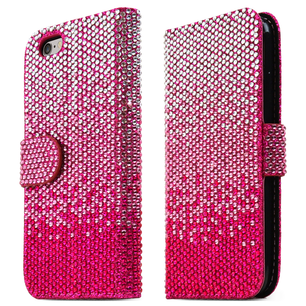 Apple iPhone 6/ 6S Case,  [Hot Pink] Bling Waterfall Diamond Kickstand Feature Luxury Faux Saffiano Leather Front Flip Cover with Built-in Card Slots, Magnetic Flap