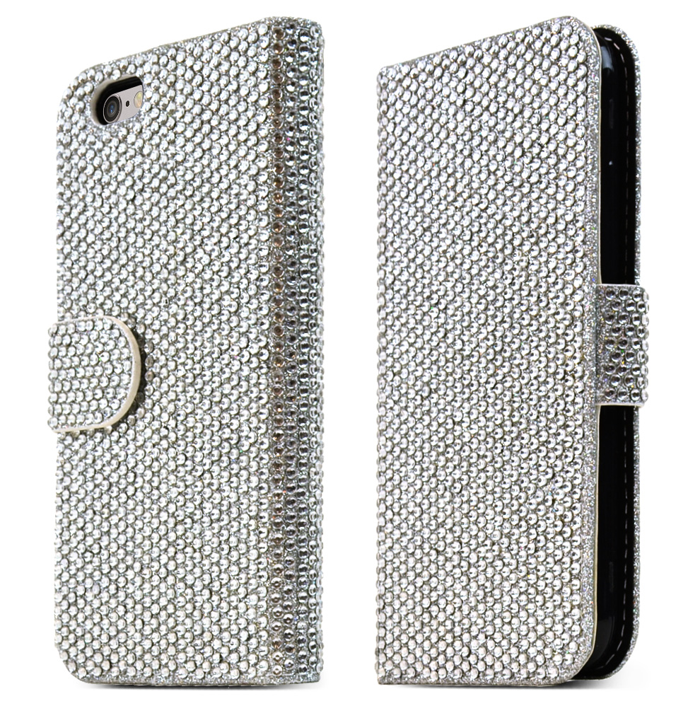Apple iPhone 6/ 6S (4.7 inch) Case,  [Silver] Bling Waterfall Diamond Kickstand Feature Luxury Faux Saffiano Leather Front Flip Cover with Built-in Card Slots, Magnetic Flap