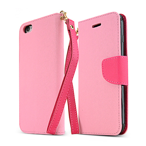 Apple iPhone 6 PLUS/6S PLUS (5.5 inch) Wallet Case,  [Baby Pink/ Hot Pink]  Kickstand Feature Luxury Faux Saffiano Leather Front Flip Cover with Built-in Card Slots, Magnetic Flap