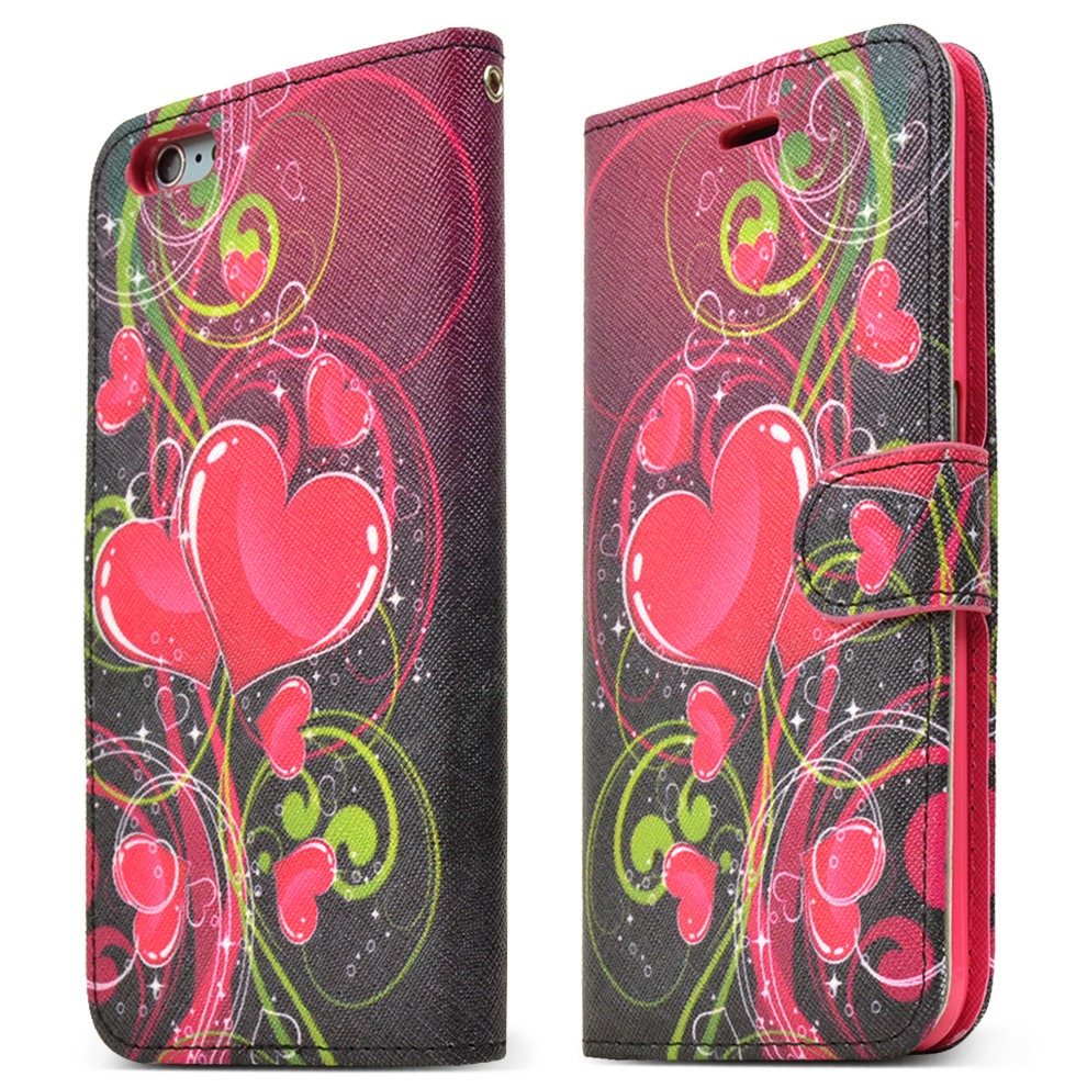 Made for Apple iPhone 6 PLUS/6S PLUS (5.5 inch) Wallet Case,  [Hot Pink Heart]  Kickstand Feature Luxury Faux Saffiano Leather Front Flip Cover with Built-in Card Slots, Magnetic Flap by Redshield