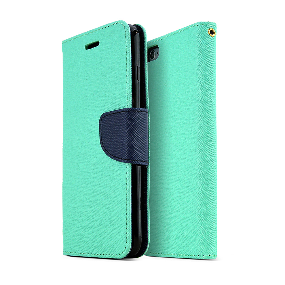Made for Apple iPhone 6 PLUS/6S PLUS (5.5 inch) Wallet Case,  [Mint/ Navy]  Kickstand Feature Luxury Faux Saffiano Leather Front Flip Cover with Built-in Card Slots, Magnetic Flap by Redshield