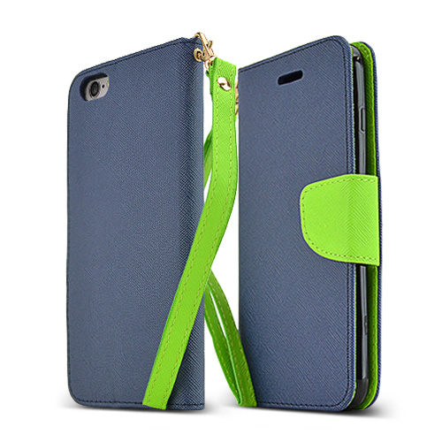 Apple iPhone 6 PLUS/6S PLUS (5.5 inch) Wallet Case,  [Navy/ Lime]  Kickstand Feature Luxury Faux Saffiano Leather Front Flip Cover with Built-in Card Slots, Magnetic Flap