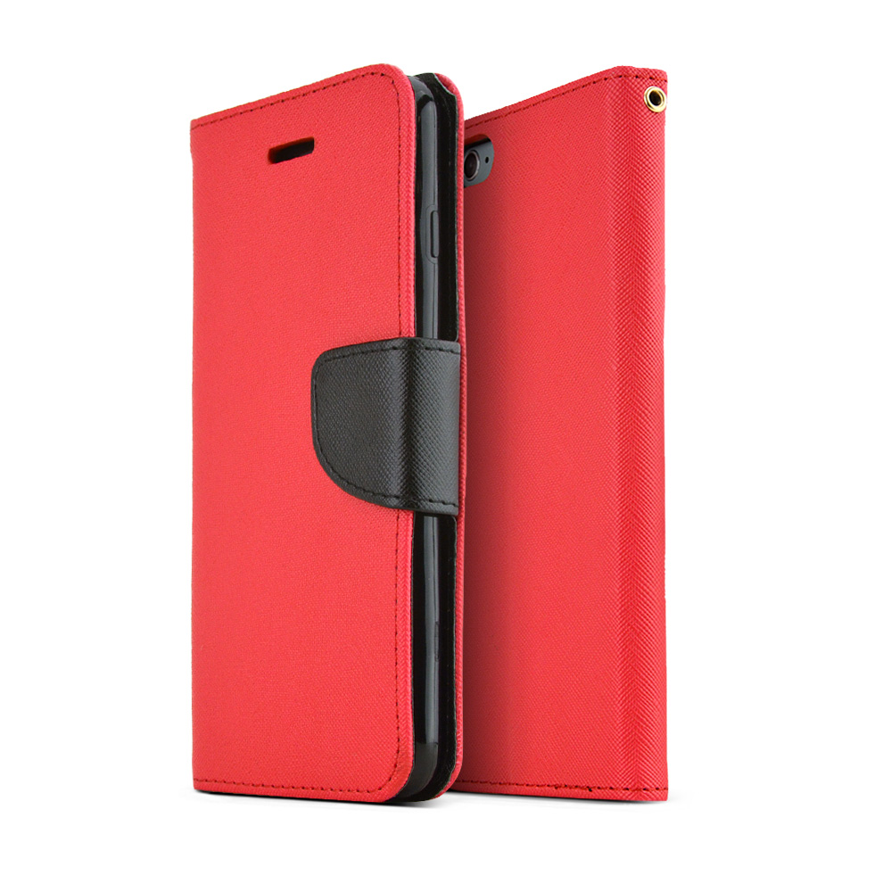 Apple iPhone 6 PLUS/6S PLUS (5.5 inch) Wallet Case,  [Red/ Black]  Kickstand Feature Luxury Faux Saffiano Leather Front Flip Cover with Built-in Card Slots, Magnetic Flap