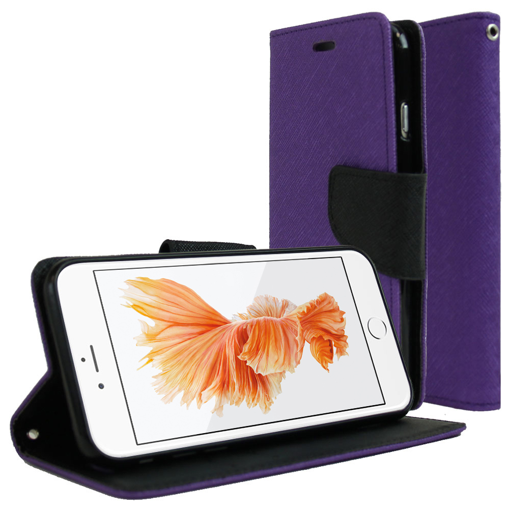 Made for Apple iPhone 6/ 6S Case, [Purple/ Black]  Kickstand Feature Luxury Faux Saffiano Leather Front Flip Cover with Built-in Card Slots, Magnetic Flap by Redshield