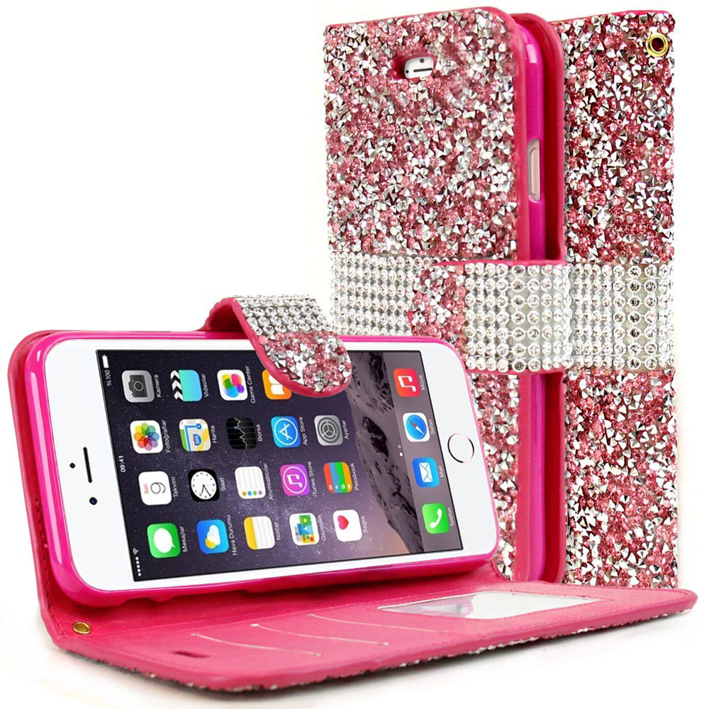 Apple iPhone 8/7/6S/6 Wallet Case, REDshield [Pink Shiny Sparkling Gem w/ Silver] Kickstand Feature Luxury Faux Saffiano Leather Front Flip Cover with Built-in Card Slots, Magnetic Flap with Travel Wallet Phone Stand