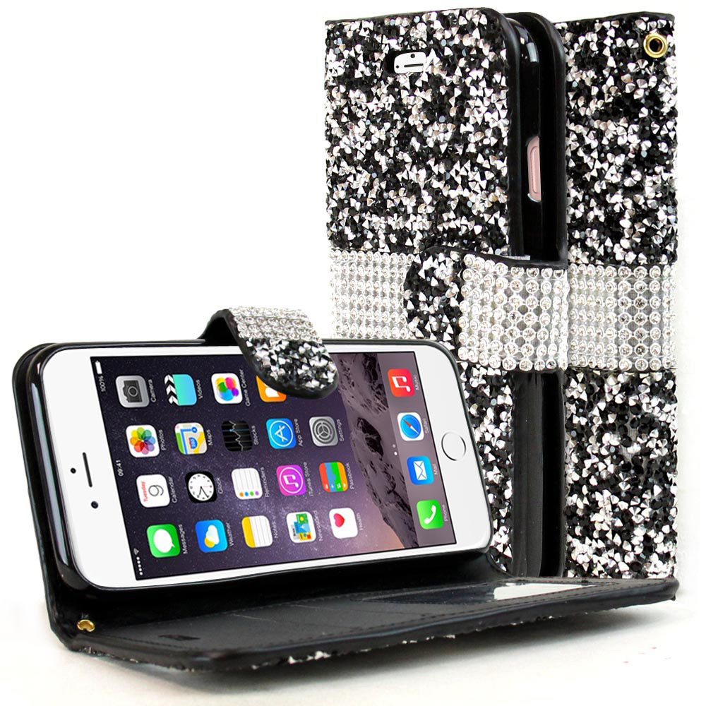 Made for Apple iPhone 8/7/6S/6 Plus Wallet Case, [Black Shiny Sparkling Gem w/ Silver] Kickstand Feature Luxury Faux Saffiano Leather Front Flip Cover with Built-in Card Slots, Magnetic Flap with Travel Wallet Phone Stand by Redshield