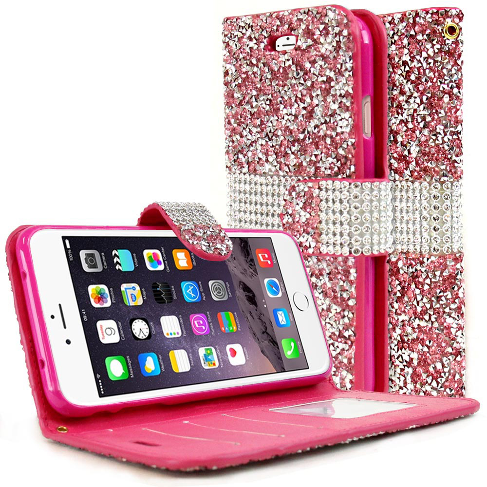 Apple iPhone 8/7/6S/6 Plus Wallet Case, REDshield [Pink Shiny Sparkling Gem w/ Silver] Kickstand Feature Luxury Faux Saffiano Leather Front Flip Cover with Built-in Card Slots, Magnetic Flap with Travel Wallet Phone Stand