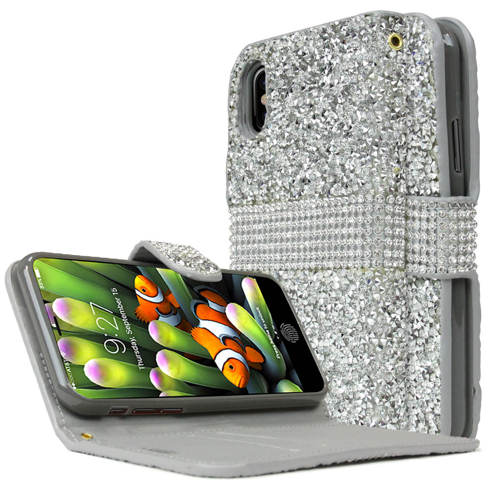 [REDshield] Apple iPhone X Wallet Case, [Silver Shiny Sparkling Gem w/ Silver] Kickstand Luxury Faux Saffiano Leather Front Flip Cover with Built-in Card Slots, Magnetic Flap