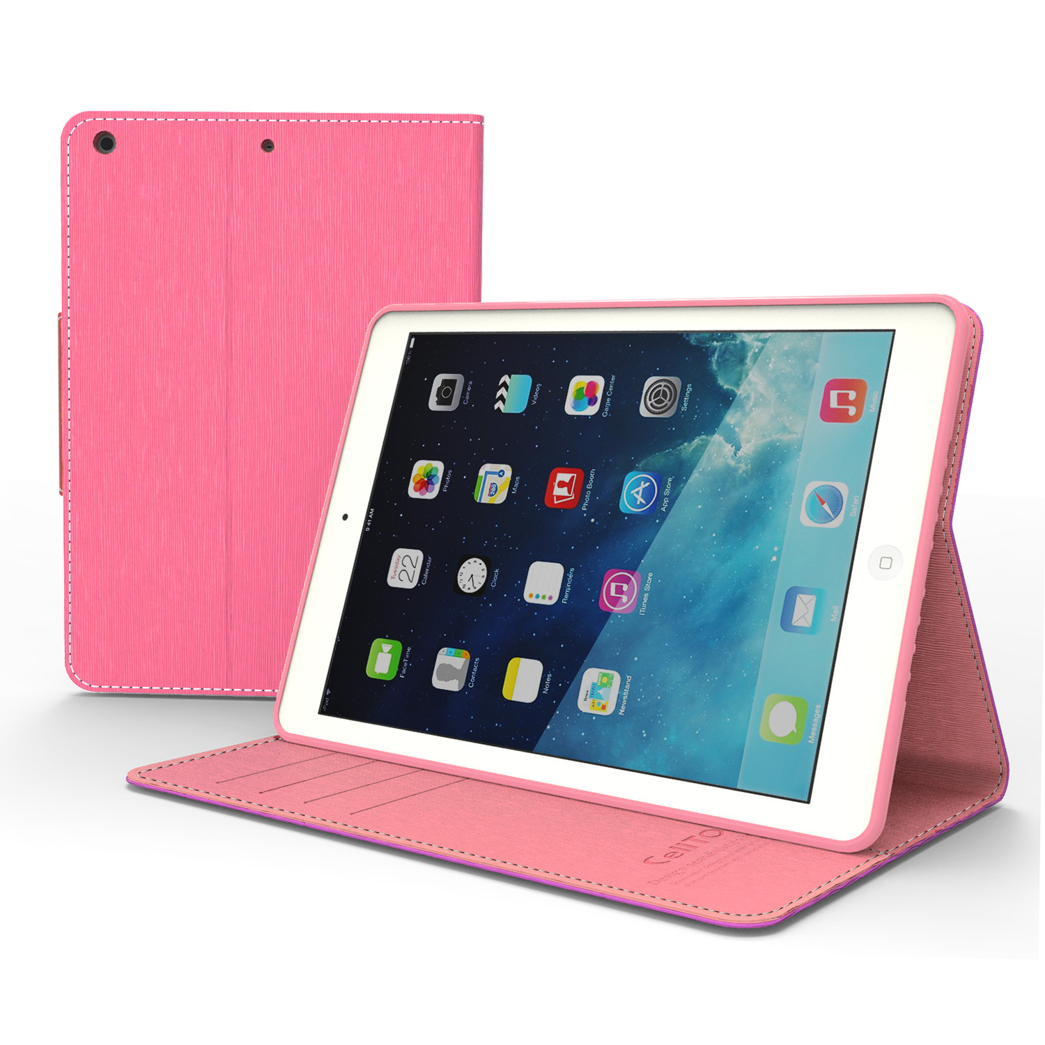 Made for Apple iPad Air Hot Pink/ Baby Pink  Faux Leather Diary Flip Case w/ ID Slots, Bill Fold, Magnetic Closure by Redshield