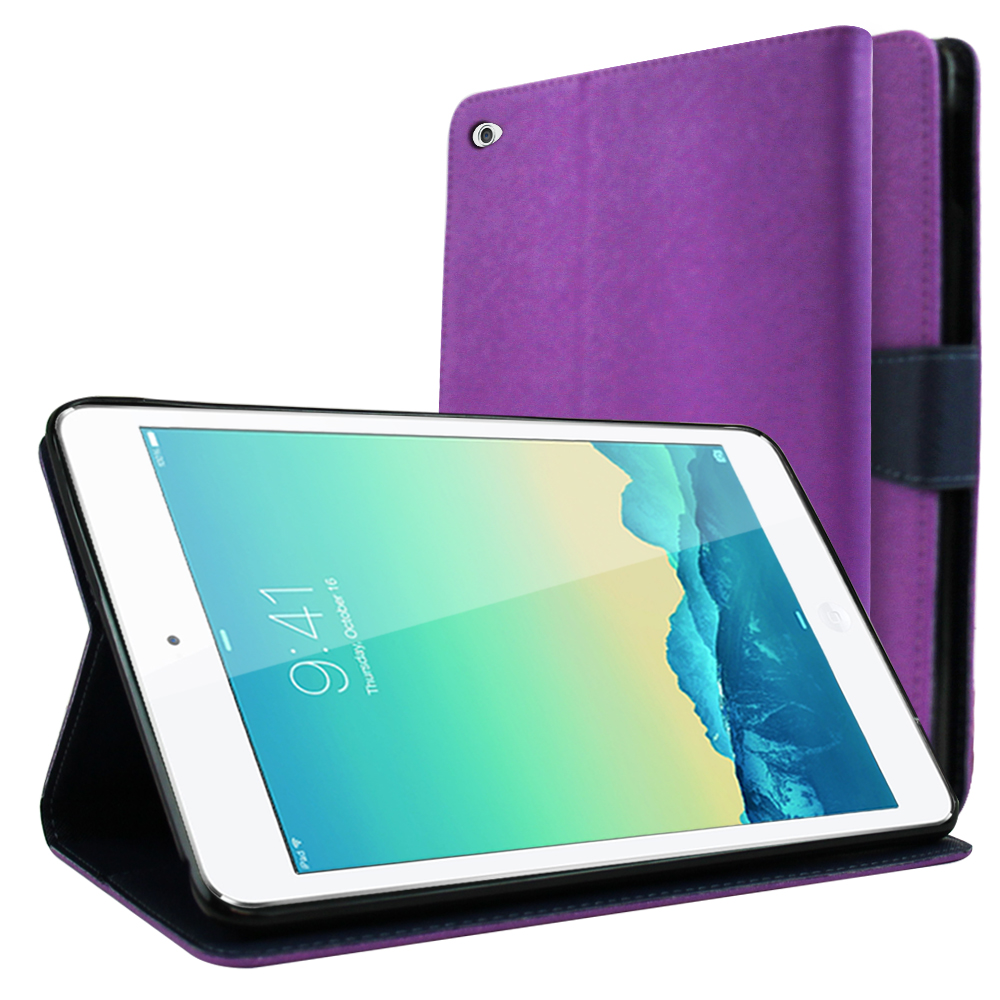 Made for Apple iPad Mini 4 Wallet Case [Purple/ Navy] Featuring Faux Leather Flip Cover, ID Slots, Bill Fold Snap Close Magnet by Redshield