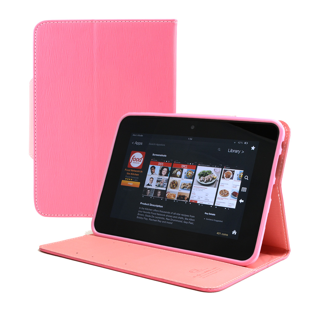 Hot Pink/ Baby Pink Faux Leather Diary Flip Case w/ ID Slots, Bill Fold, & Magnetic Closure for Amazon Kindle Fire HD 7 2012