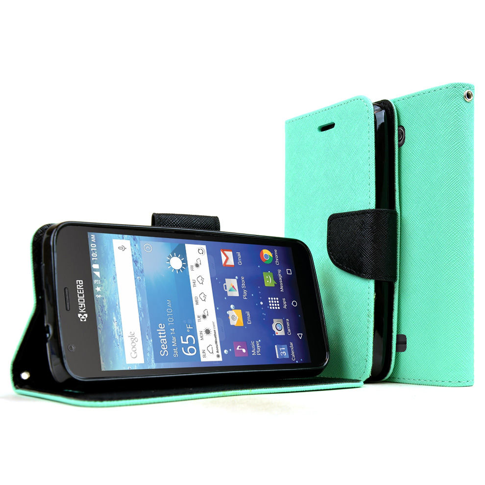 Kyocera Hydro Wave Case, [Mint] Faux Leather Front Flip Cover Diary Wallet Case w/ Magnetic Flap