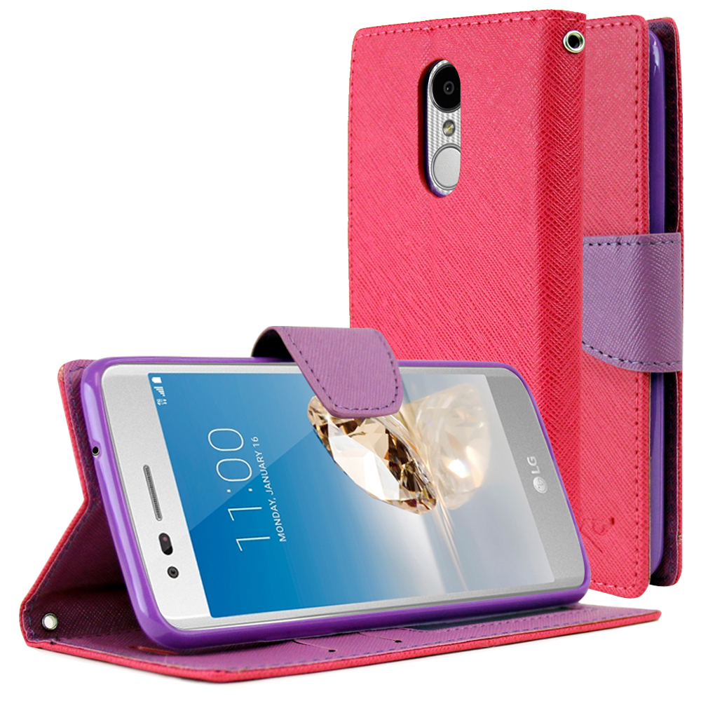 LG Aristo/ Fortune Case, REDshield Faux Leather Front Flip Cover Diary Wallet Case w/ Magnetic Flap [Hot Pink/ Purple]