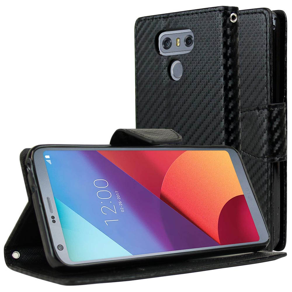 LG G6 Wallet Case, [Carbon Fiber Design] Kickstand Feature Luxury Faux Saffiano Leather Front Flip Cover with Built-in Card Slots, Magnetic Flap with Travel Wallet Phone Stand