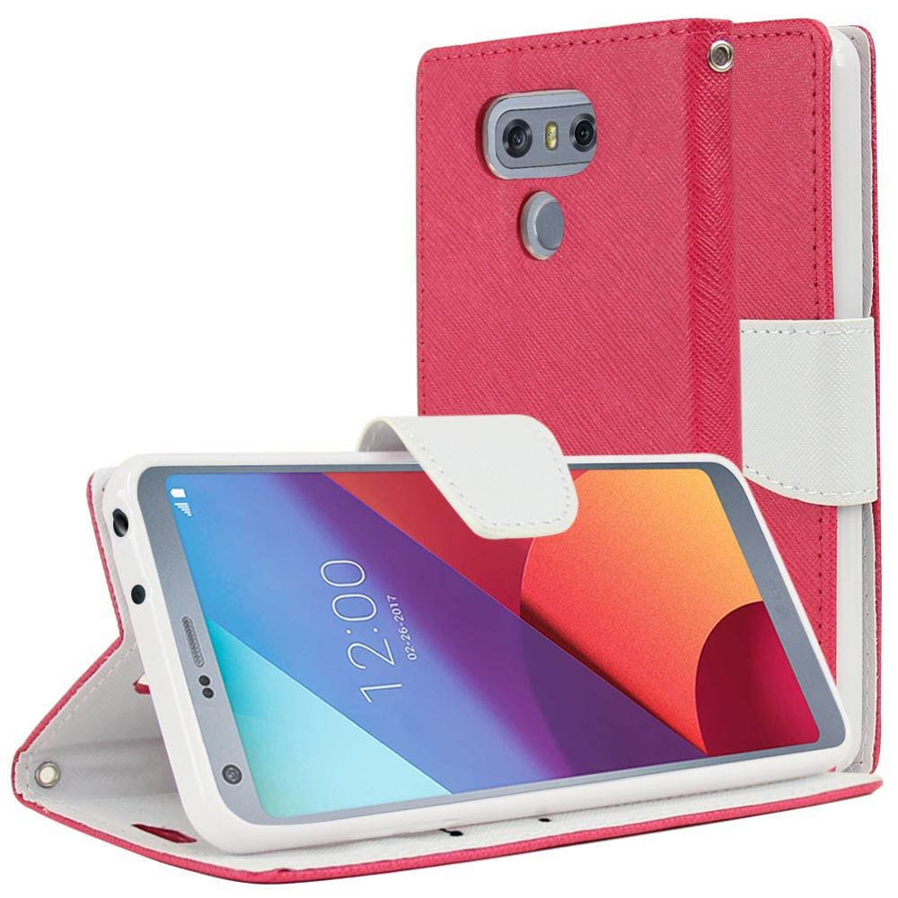 LG G6 Wallet Case, [Hot Pink/ White] Kickstand Feature Luxury Faux Saffiano Leather Front Flip Cover with Built-in Card Slots, Magnetic Flap with Travel Wallet Phone Stand