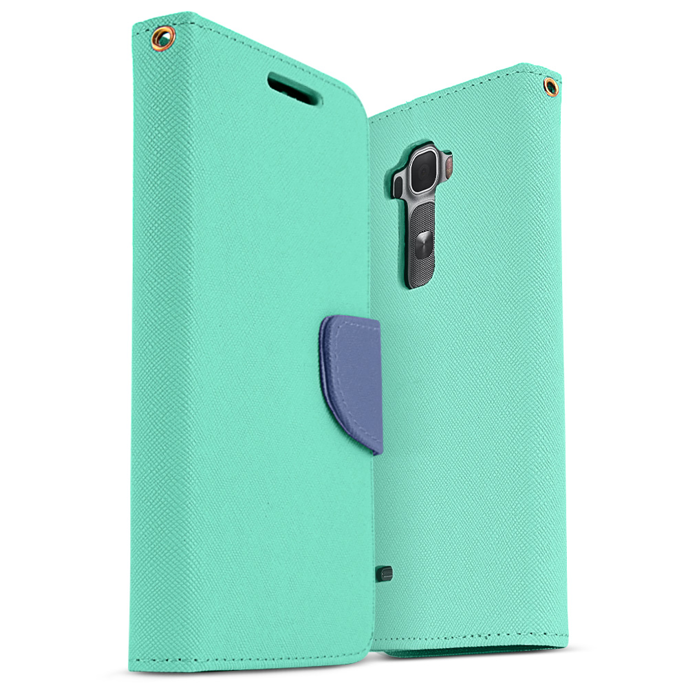 Mint Saffiano Texture Faux Leather Front Flip Wallet Case for LG G Flex 2