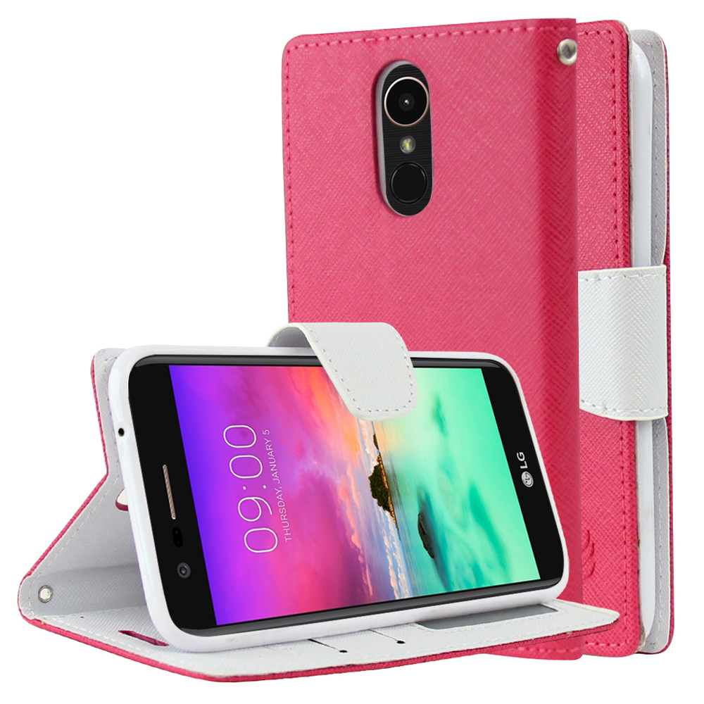 LG K10 (2017) Wallet Case, [Hot Pink/ White] Kickstand Feature Luxury Faux Saffiano Leather Front Flip Cover with Built-in Card Slots, Magnetic Flap with Travel Wallet Phone Stand