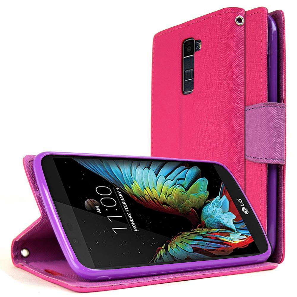 LG K10 Wallet Case, REDshield [Pink/ Purple] Faux Saffiano Leather Front Flip Cover with Built-in Card Slots, Magnetic Flap