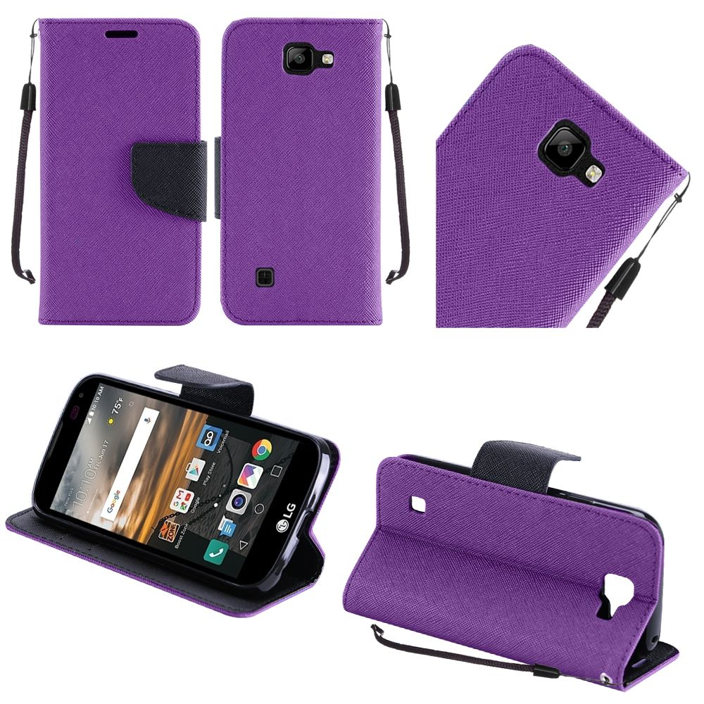 LG K3 Case, Luxury Faux Leather Saffiano Texture Front Flip Cover Diary Wallet Case w/ Magnetic Flap [Purple/ Black]