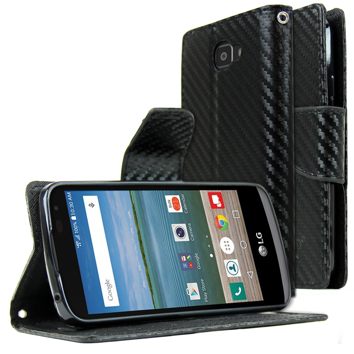 LG Optimus Zone 3 Wallet Case, REDshield [Carbon Fiber Design] Faux Saffiano Leather Front Flip Cover with Built-in Card Slots, Magnetic Flap